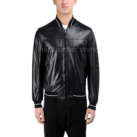 Contrast Detail Men Bomber Leather Jacket -  HOTLEATHERWORLD