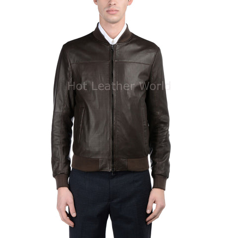 Cool Style Men Leather Bomber Jacket