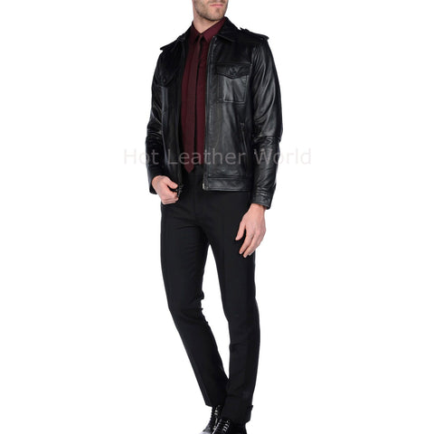 Trendy Men Leather Motorcycle Jacket -  HOTLEATHERWORLD