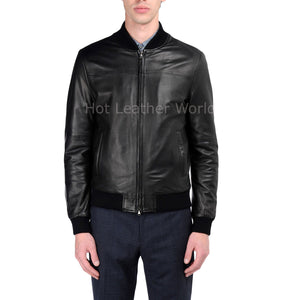 Elegant Style Men Leather Jacket -  HOTLEATHERWORLD