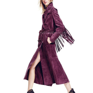 Women Suede Leather trench Coat -  HOTLEATHERWORLD