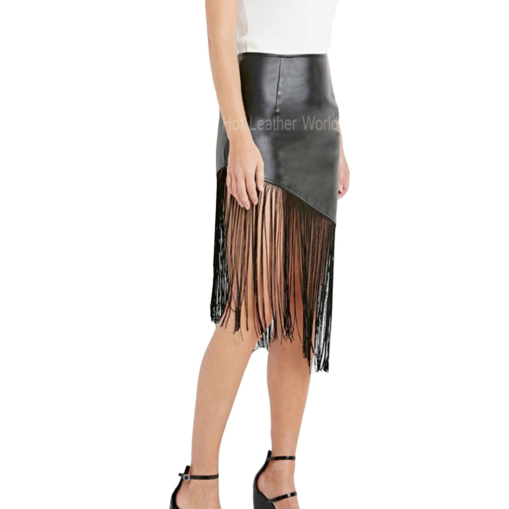 Fringed Leather Skirt For Women -  HOTLEATHERWORLD