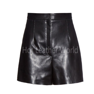 High-Waist Women Leather Shorts -  HOTLEATHERWORLD