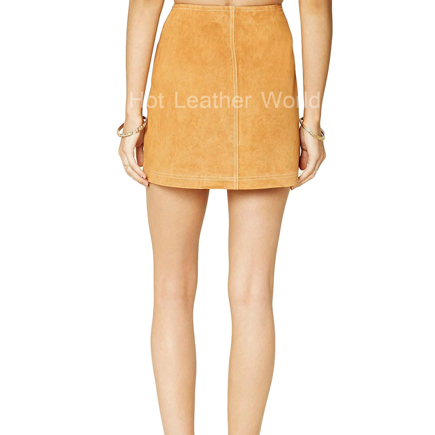 Buttoned Leather Mini Skirt For Women -  HOTLEATHERWORLD