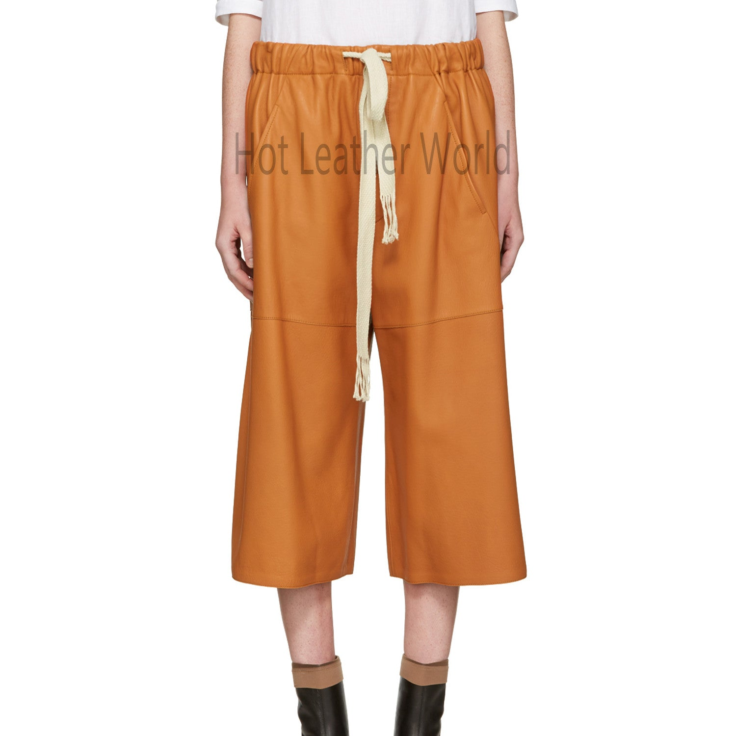 Orange Leather Shorts For Women -  HOTLEATHERWORLD