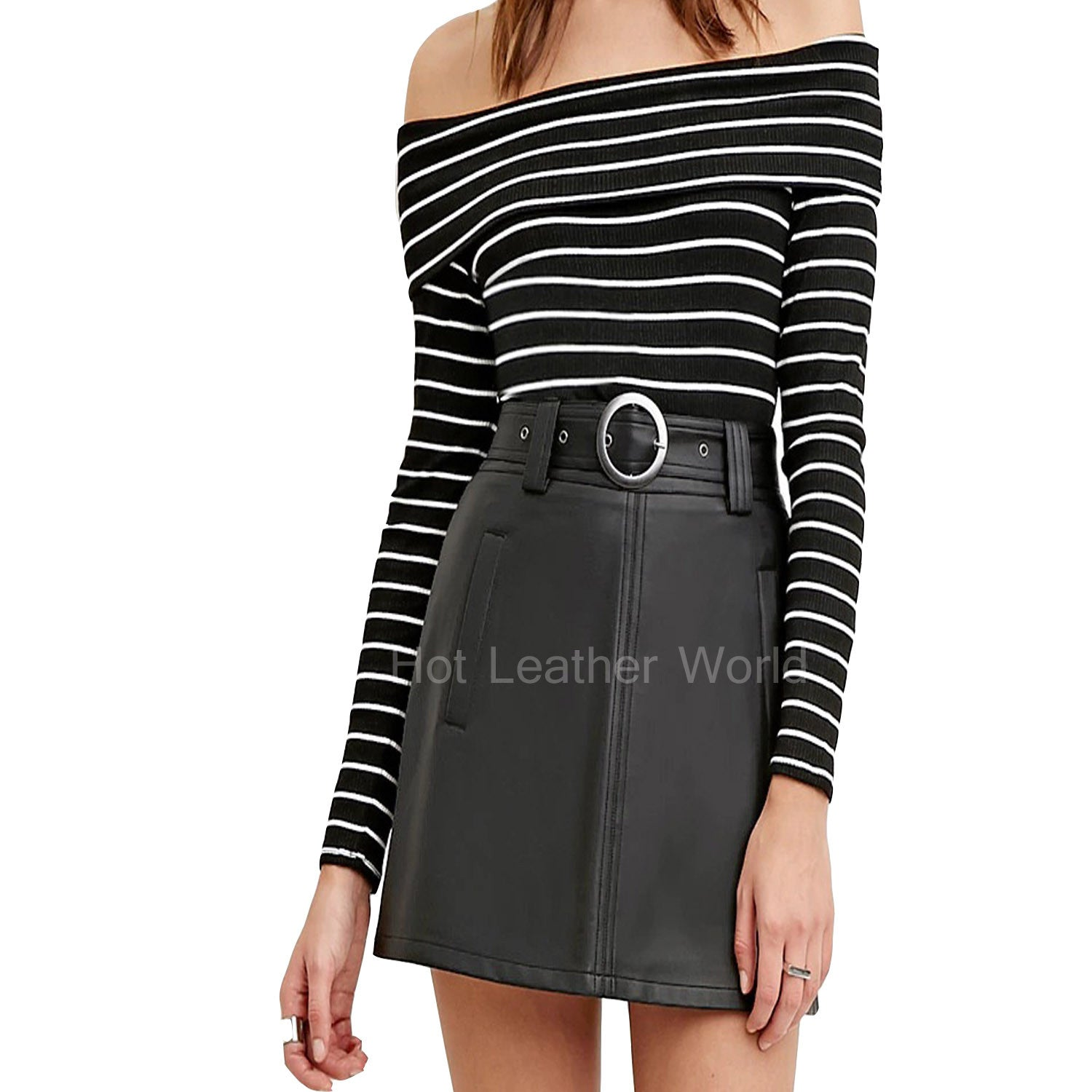 Belted Leather Skirt For Women -  HOTLEATHERWORLD