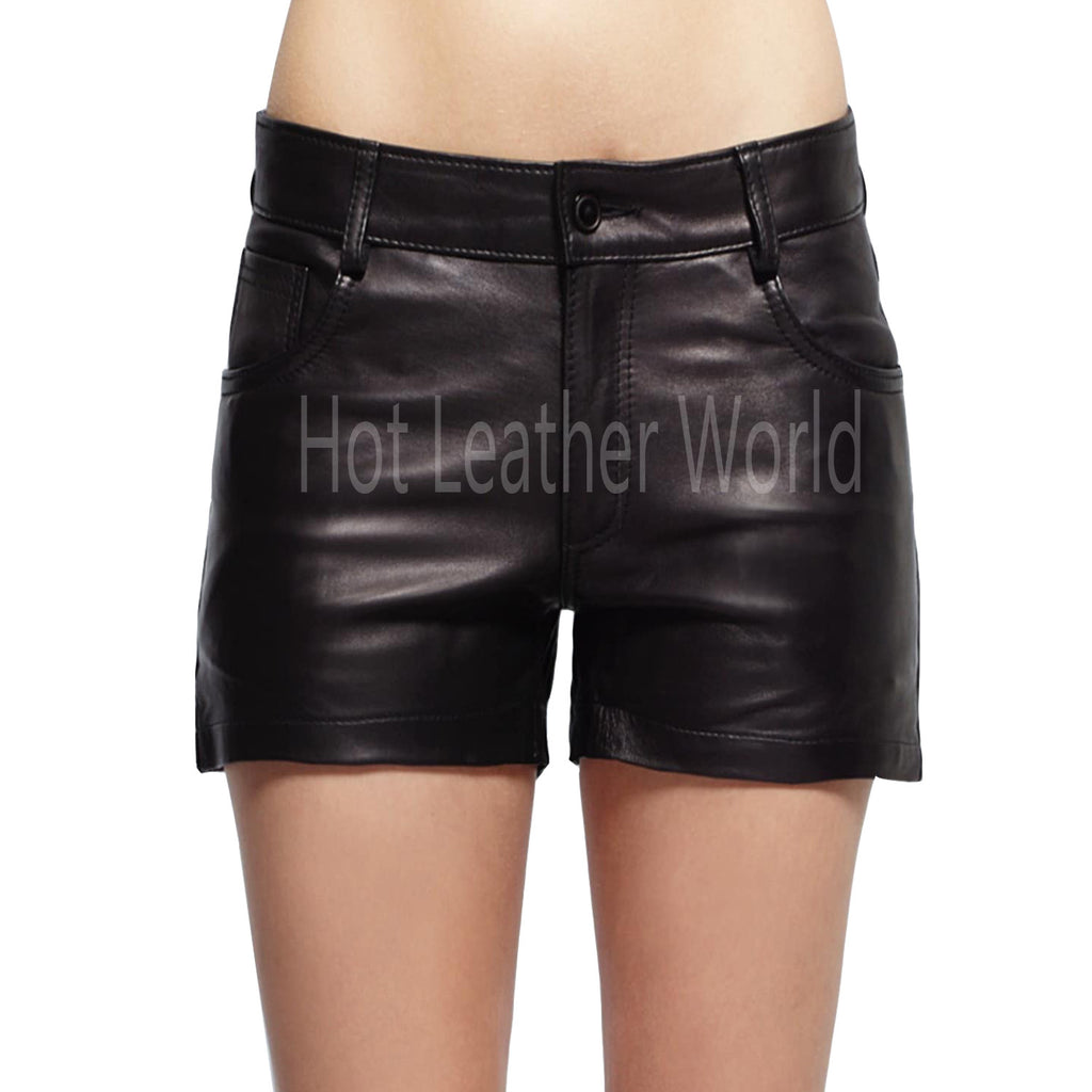 Women Leather Hot Shorts