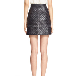 Quilted Lambskin Leather Miniskirt -  HOTLEATHERWORLD