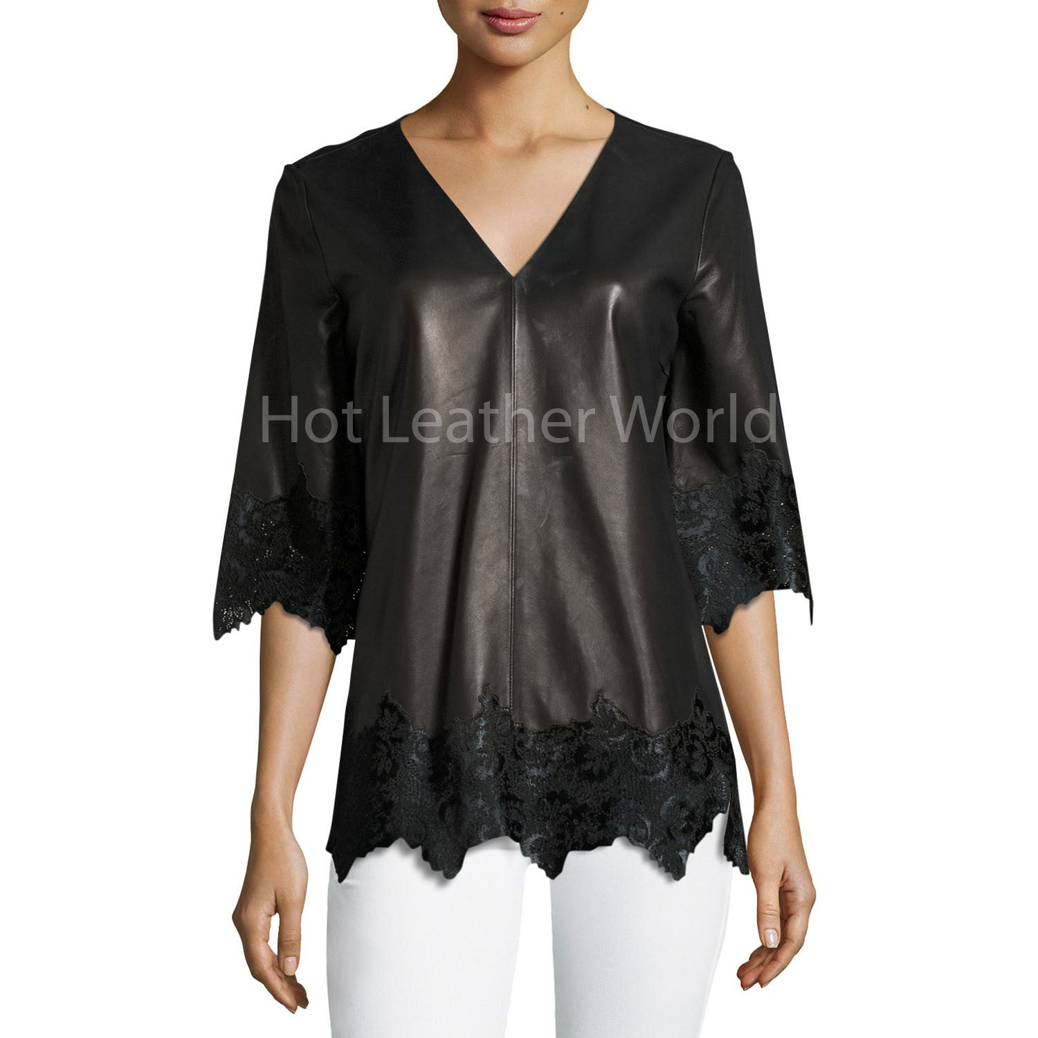 Half-Sleeve Lace Leather Top -  HOTLEATHERWORLD