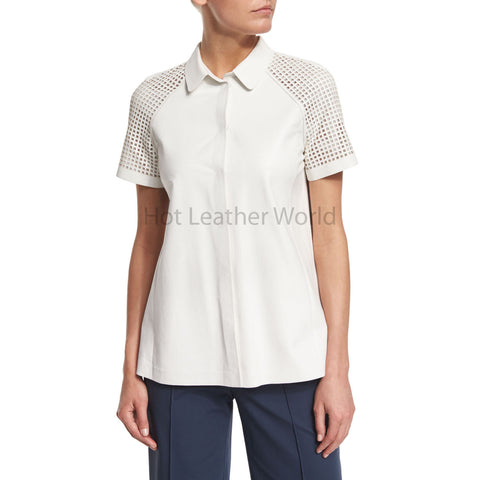 Lamb Leather Blouse with Perforated Sleeves