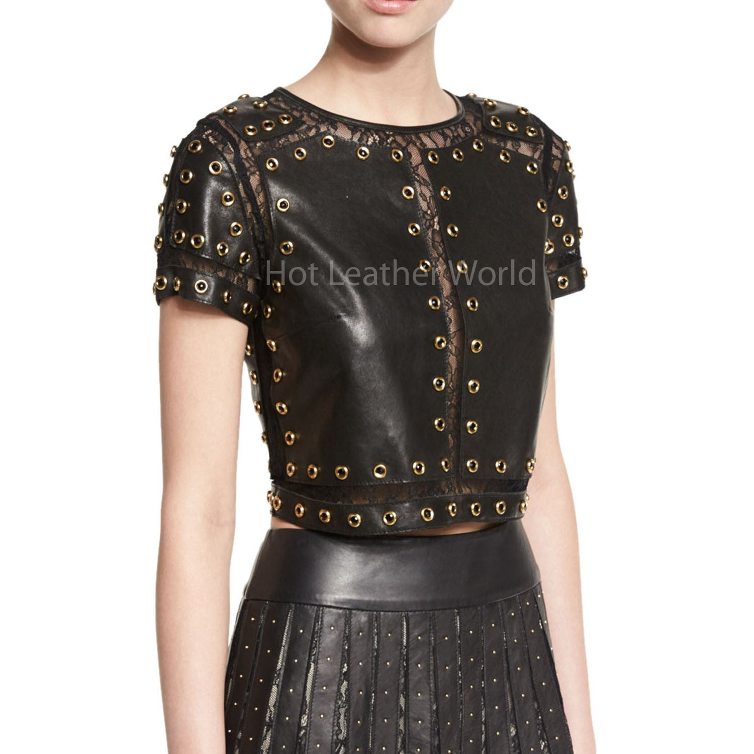 Studded Leather Top With Lace Trim -  HOTLEATHERWORLD