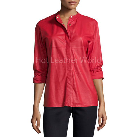 Long-Sleeve Snap-Front Leather Shirt