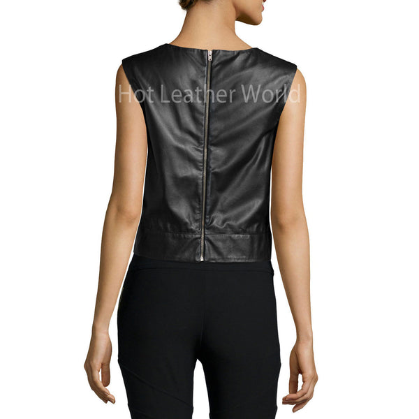 Crewneck Sleeveless Belted Leather Crop Top -  HOTLEATHERWORLD