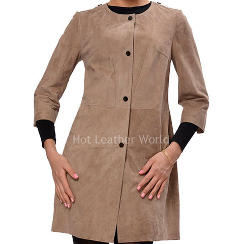 Long Length Suede Leather Coat