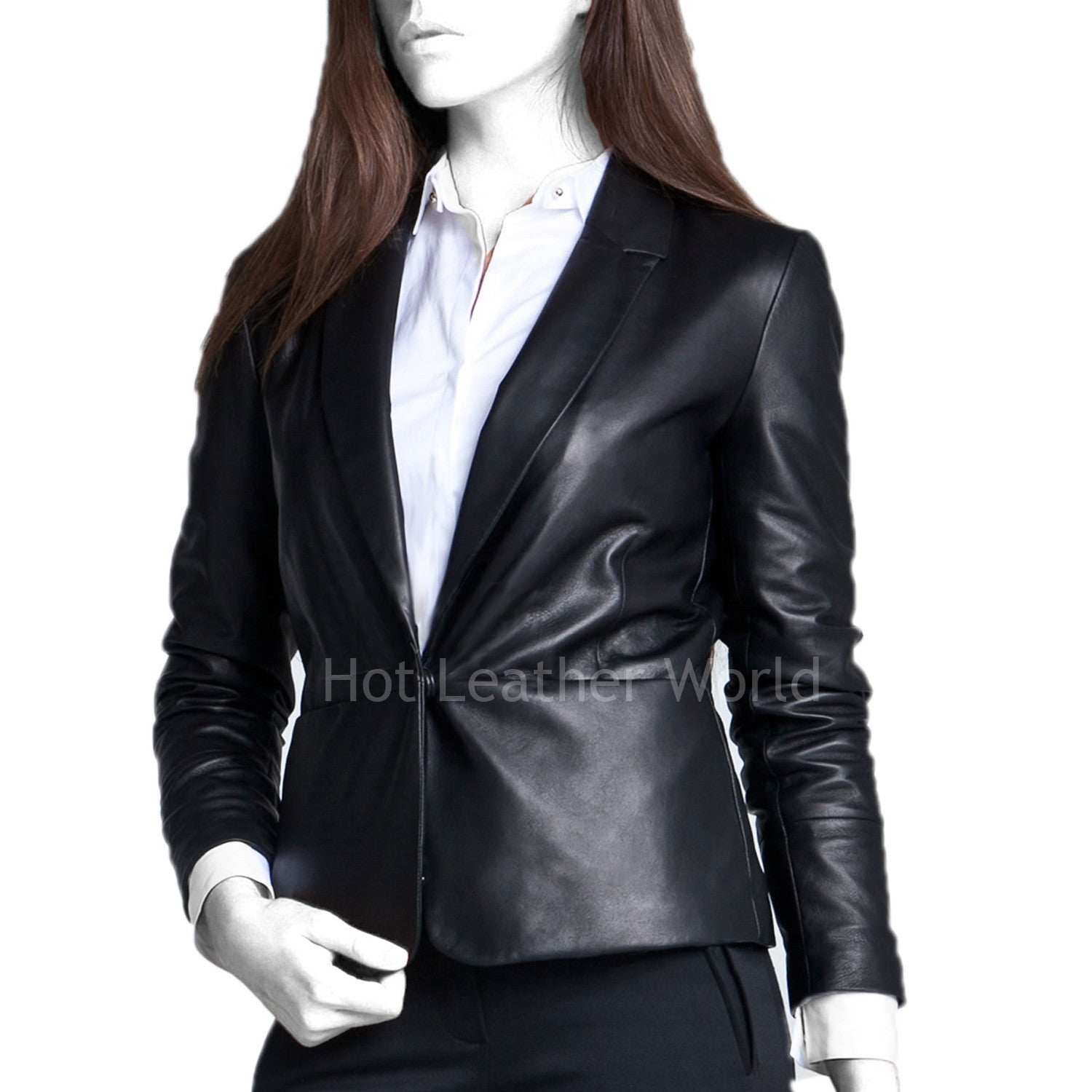 Classic Style Leather Blazer For Women -  HOTLEATHERWORLD