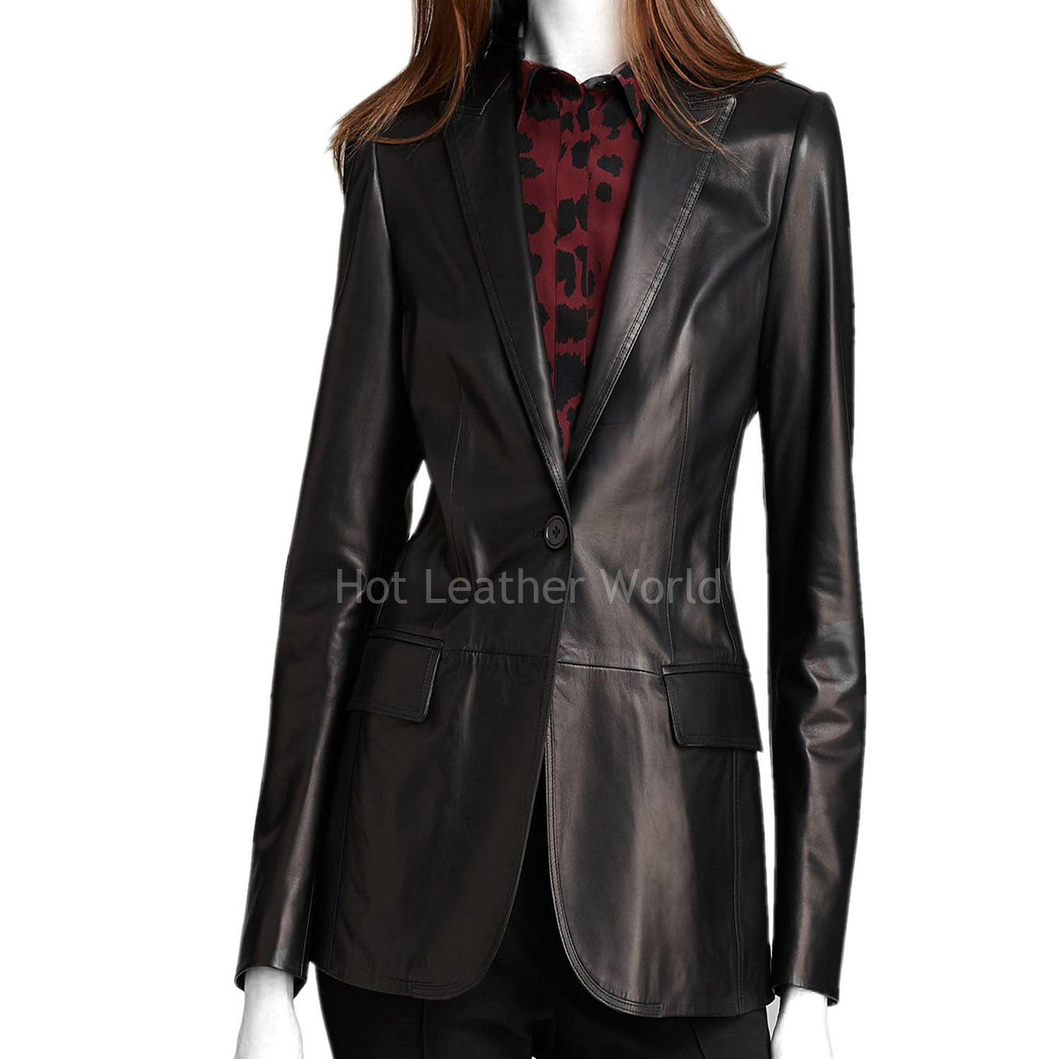 Women Lamb Skin Leather Blazer -  HOTLEATHERWORLD