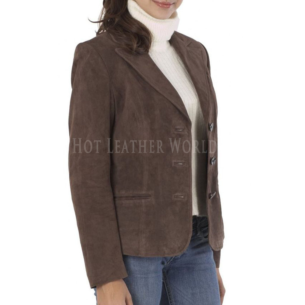 Suede Leather Classic Style Blazer