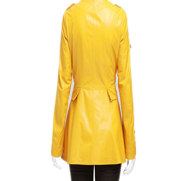 Yellow Long Leather Blazer For Women -  HOTLEATHERWORLD