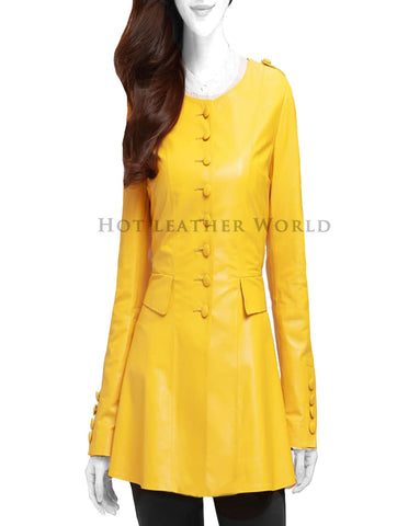 Yellow Long Leather Blazer For Women