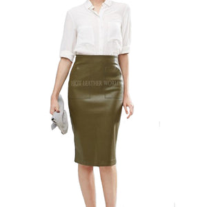 Pencil Skirt with Pocket Detail -  HOTLEATHERWORLD
