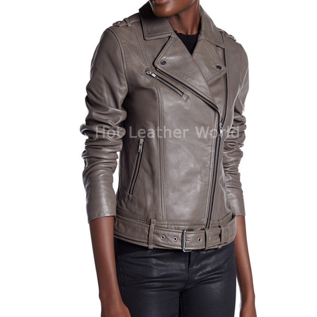 Belted Leather Moto Jacket For Women