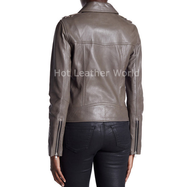 Belted Leather Moto Jacket For Women -  HOTLEATHERWORLD