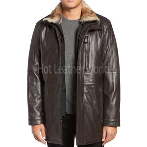 Faux Fur Trim Leather Coat For Men -  HOTLEATHERWORLD