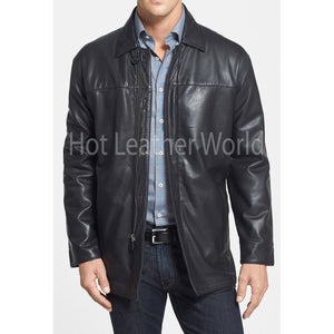 Classic Fit Lamb Skin Leather Coat For Men -  HOTLEATHERWORLD