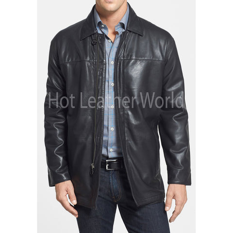 Classic Fit Lamb Skin Leather Coat For Men