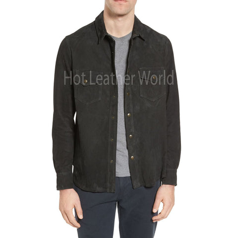 Suede Leather Classic Coat For Men -  HOTLEATHERWORLD
