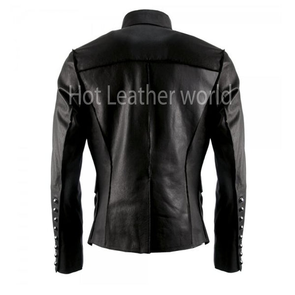 Military Inspired Leather Jacket For Men -  HOTLEATHERWORLD