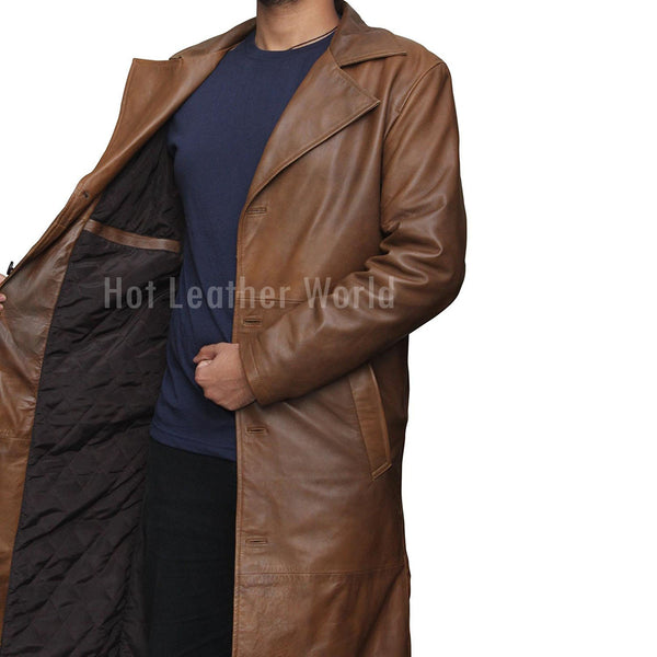 BROWN DISTRESSED LEATHER TRENCH COAT -  HOTLEATHERWORLD