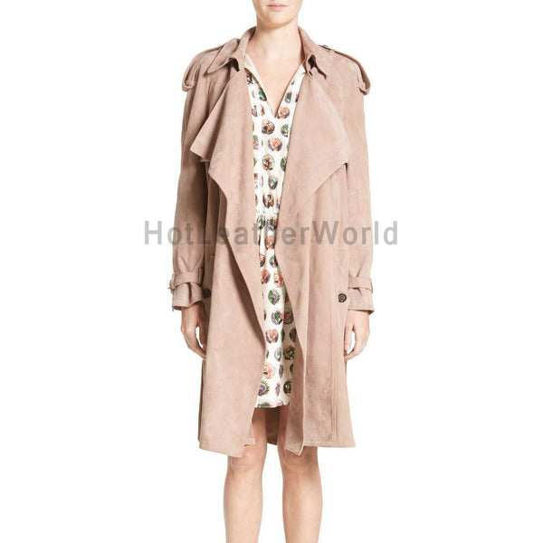 Drape Style Women Suede Leather Coat -  HOTLEATHERWORLD