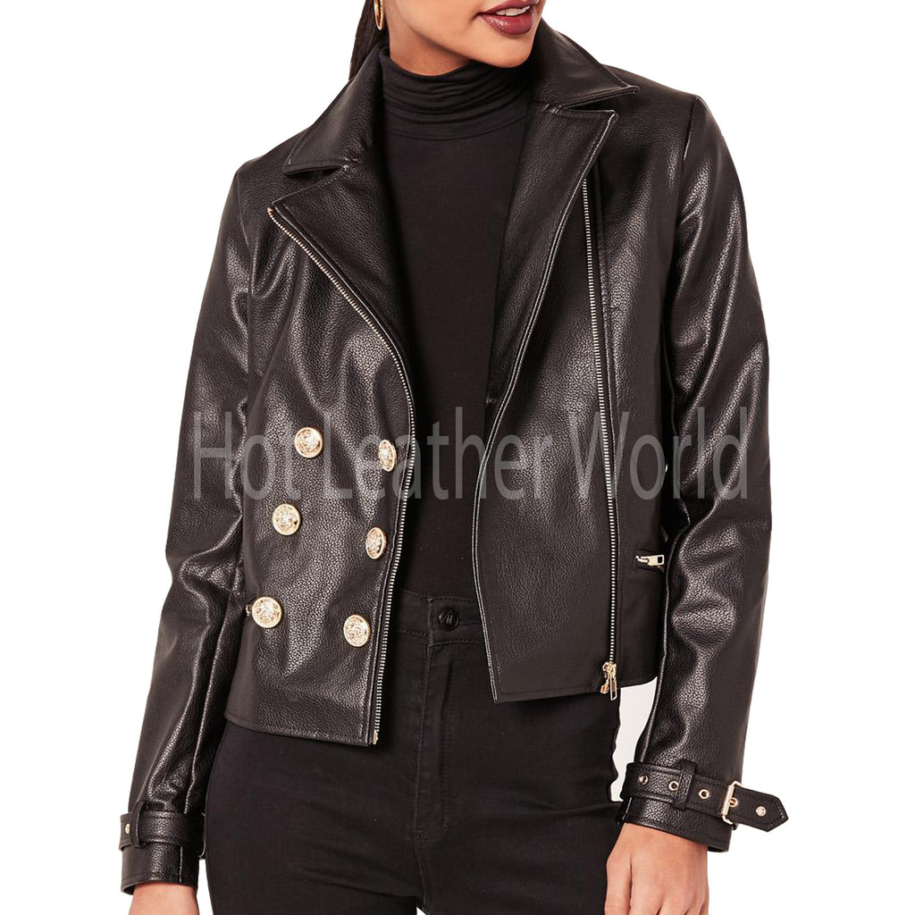 Faux Leather Military Jacket For Women