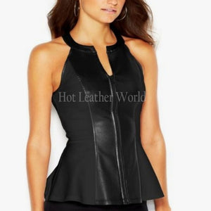 Halter Neck Women Paneled Leather Peplum Top -  HOTLEATHERWORLD