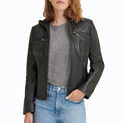 Hooded Leather Biker Jacket For Women