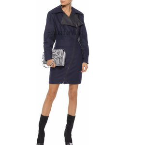 Jacket Style Women Mini Leather Dress -  HOTLEATHERWORLD