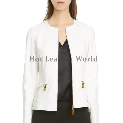 Jewel Neckline Women Leather Jacket
