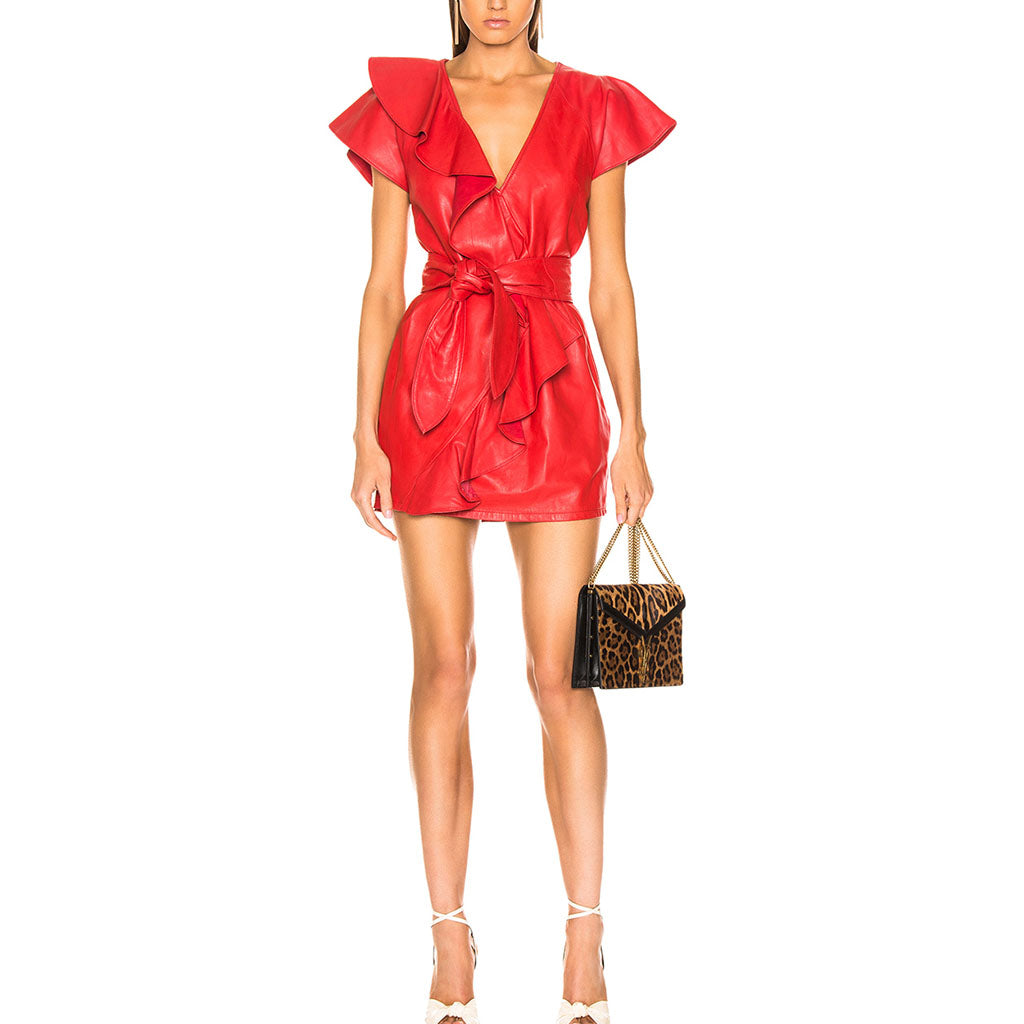 Ruffled Detailing Women Red Leather Dress -  HOTLEATHERWORLD
