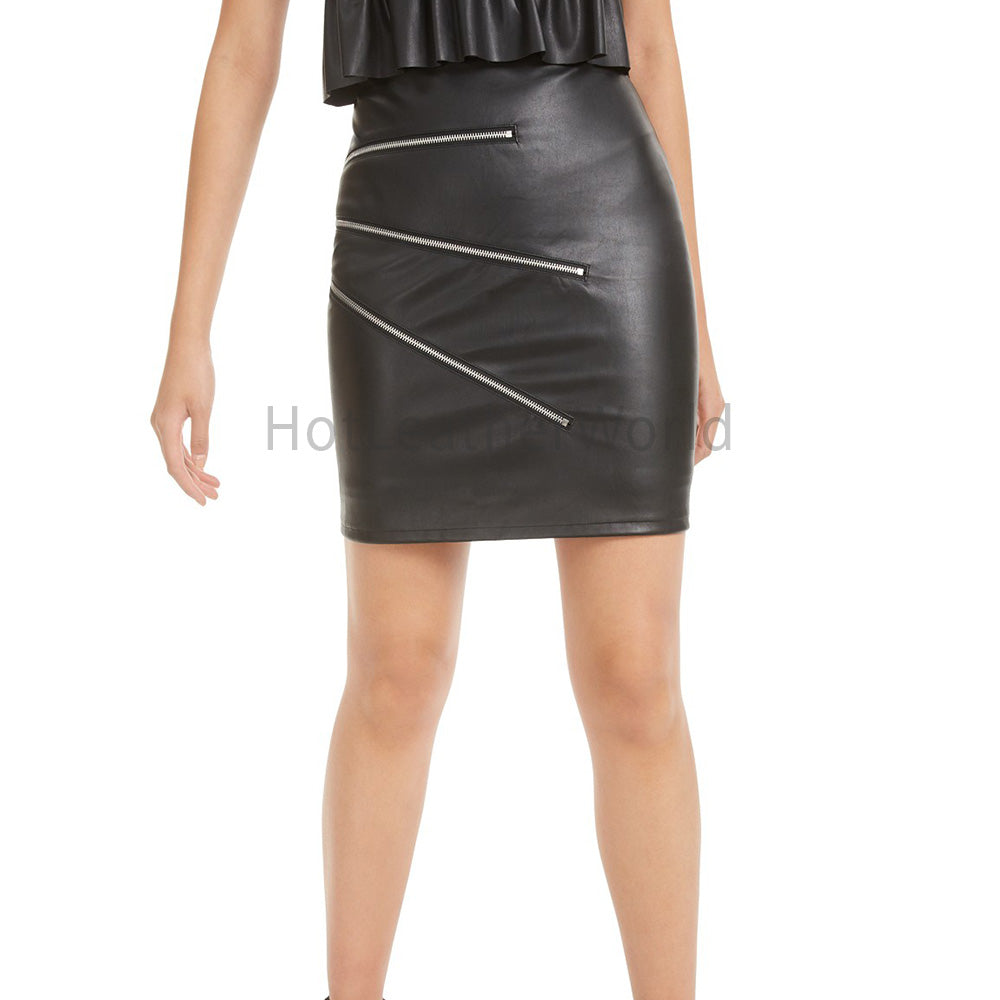 Zipper-Trimmed Women Leather Skirt -  HOTLEATHERWORLD