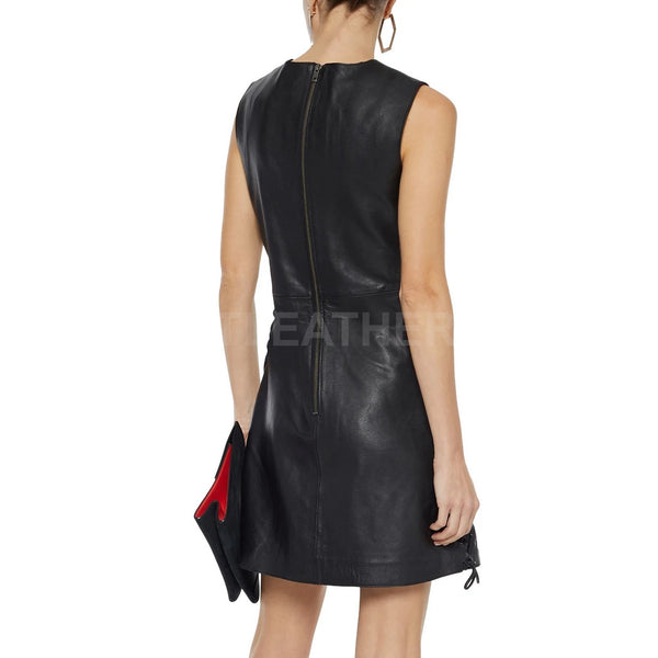 Lace-Up Detailing Women Leather Mini Dress