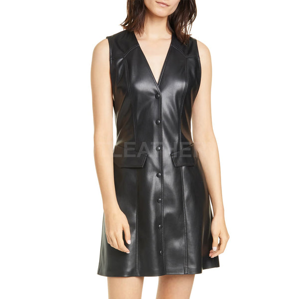 Leather A-Line Minidress For Women