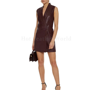Leather Mini Wrap Dress For Women