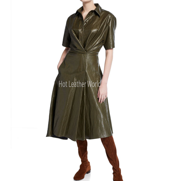 Leather Shirt Style Flared Dress -  HOTLEATHERWORLD
