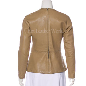 Long Sleeve Paneled Leather Peplum Top -  HOTLEATHERWORLD