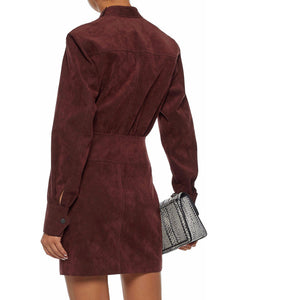 Long Sleeves Women Suede Leather Dress -  HOTLEATHERWORLD