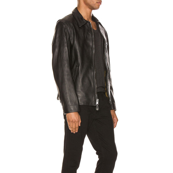 Stand Collar Lamb Leather Men Jacket -  HOTLEATHERWORLD