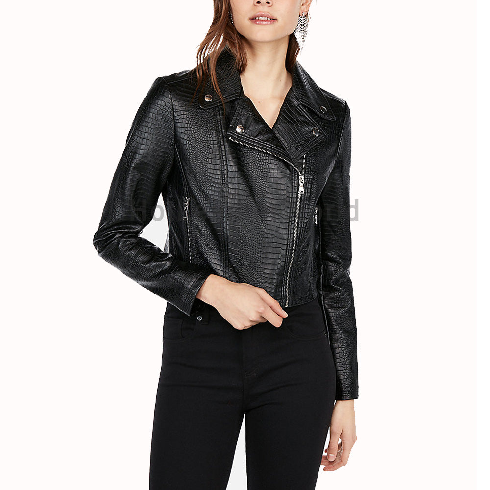 Croc Embossed Women Leather Motorcycle Jacket -  HOTLEATHERWORLD