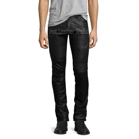 Biker Men Leather Pants