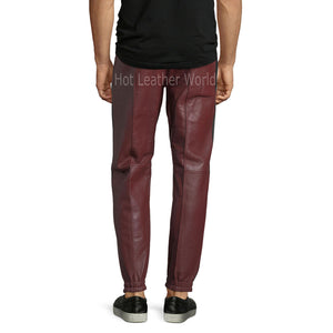 Joggers Men Leather Pants -  HOTLEATHERWORLD
